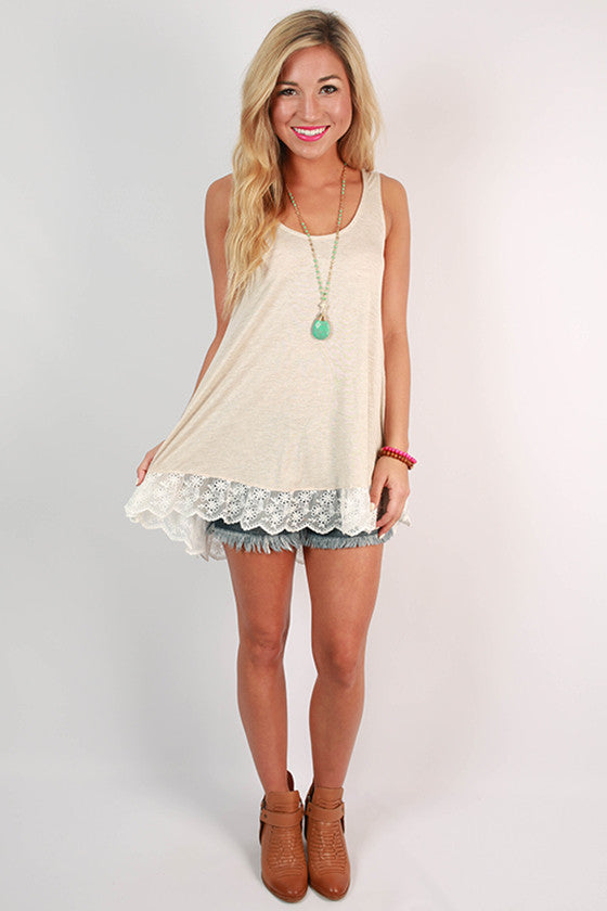 The Way It Should Be Lace Tank in Stone
