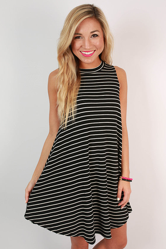 For The Thrill Of It Stripe Dress in Black
