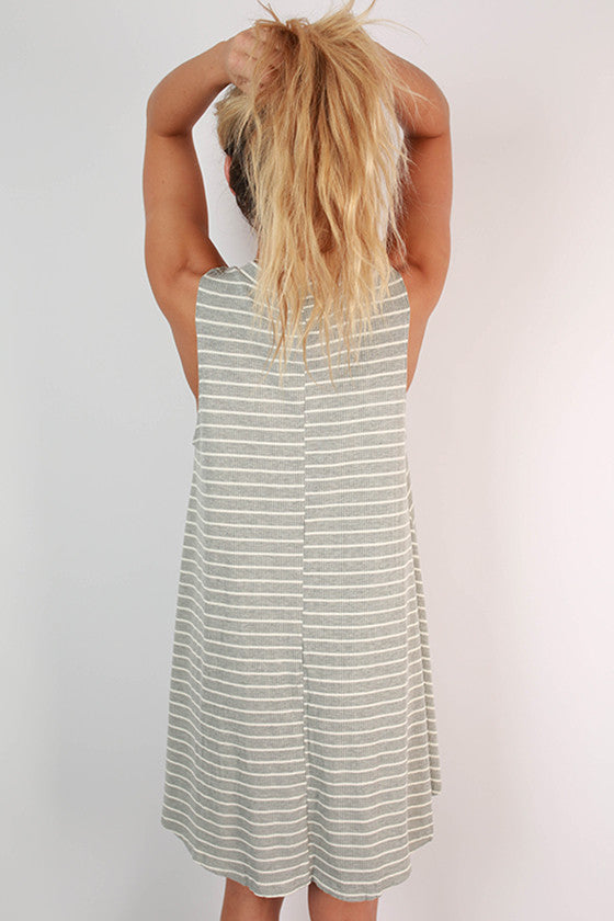 For The Thrill Of It Stripe Dress in Grey