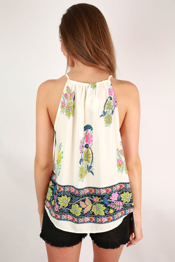 Capri Cool Printed Halter Top in Ivory