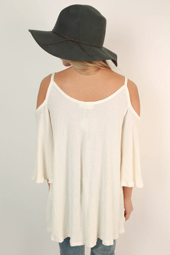 Tickets To Paradise Open Shoulder Top in Ivory