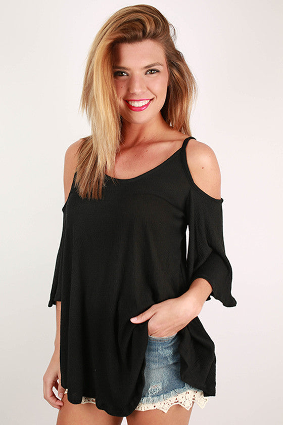 Tickets To Paradise Open Shoulder Top in Black