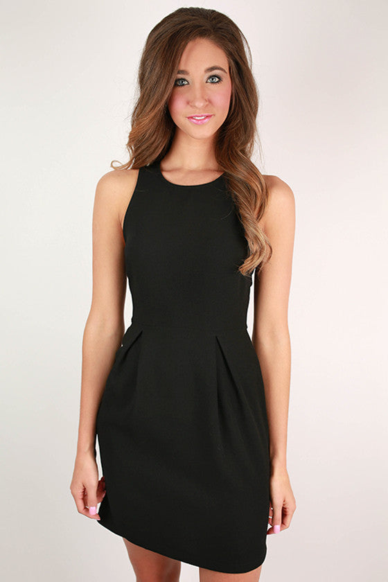 Pinot Hour Flare Dress in Black