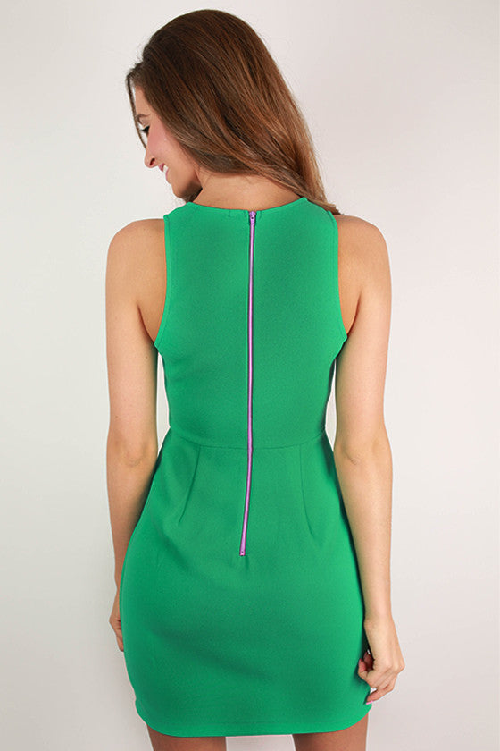 Pinot Hour Flare Dress in Jade