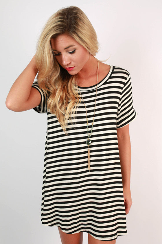 Keep The Beat Stripe Tunic in White