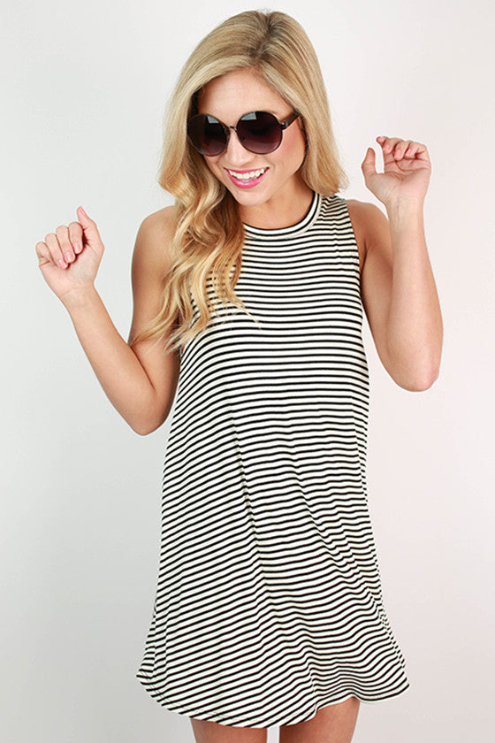 Endless Stripe Open Back Tunic Dress in Black