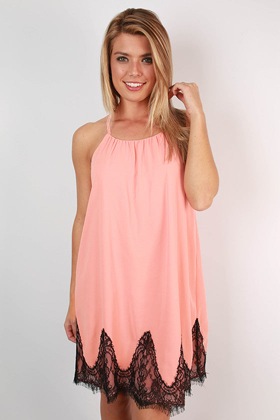 Loving in Lace Dress in Peach