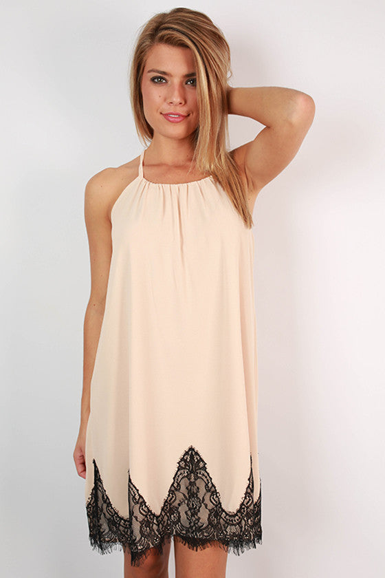 Loving in Lace Dress in Nude