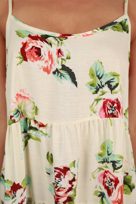 Ruffle & Swing Floral Babydoll Dress in Ivory