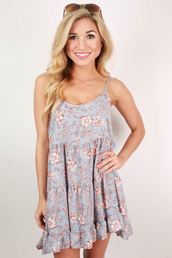 Ruffle & Swing Floral Babydoll Dress in Periwinkle