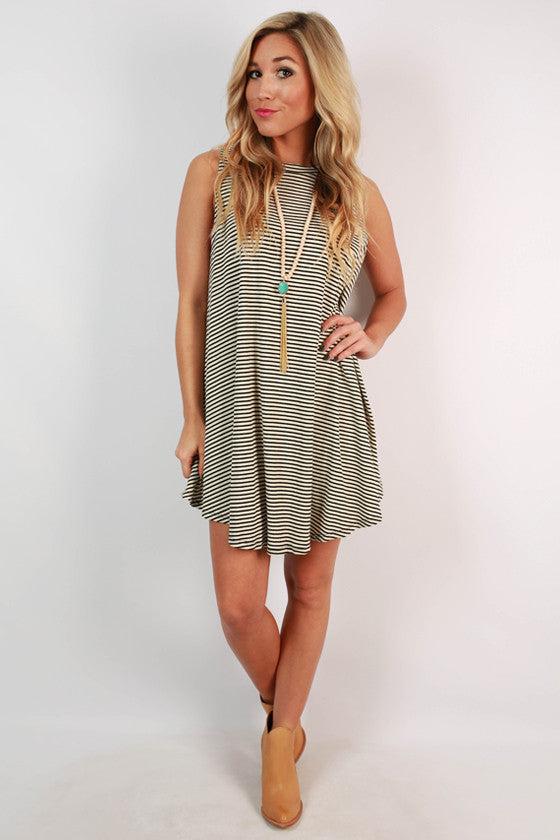 Gather Around Stripe Tunic Dress