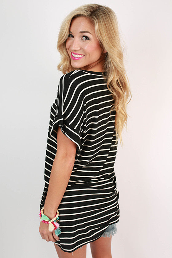 Lazy Sunday Stripe Tunic Tee in Black