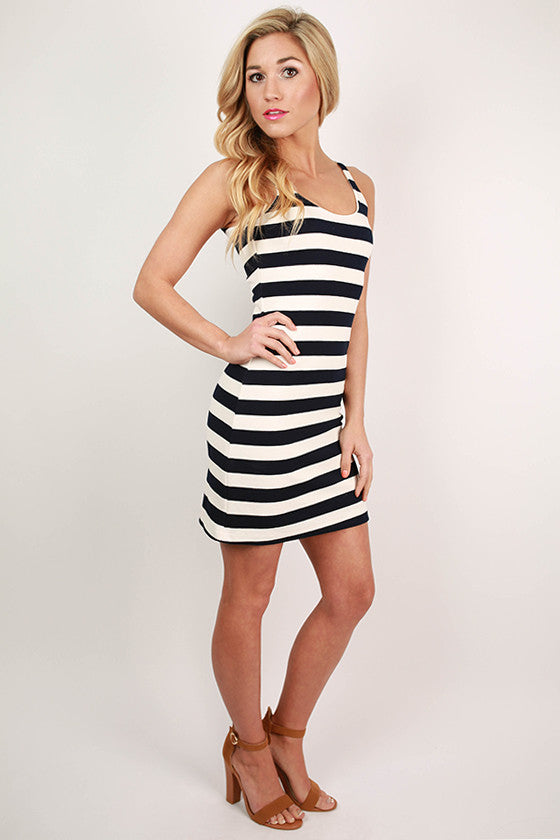 Summer Showers Stripe Dress in Navy
