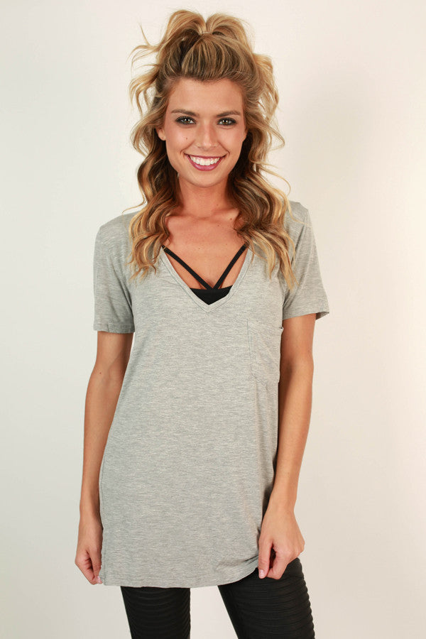 V-Neck Vintage Tee in Grey