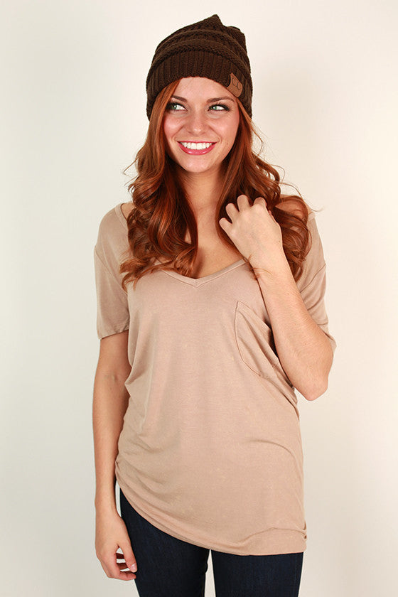 V-Neck Vintage Tee in Taupe