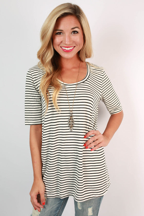 Scoop Neck Vintage Stripe Tee in White