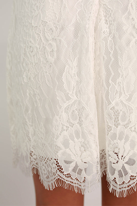 Amazing Lace Shift Dress in White