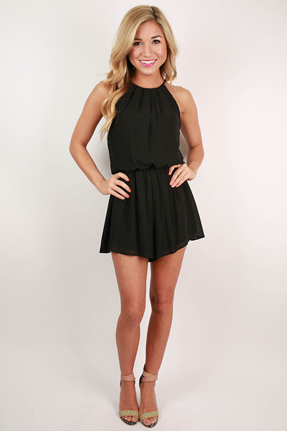 Instant Attraction Romper in Black