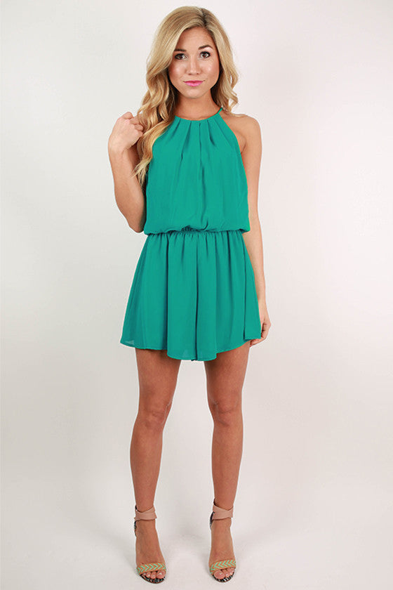 Instant Attraction Romper in Turquoise
