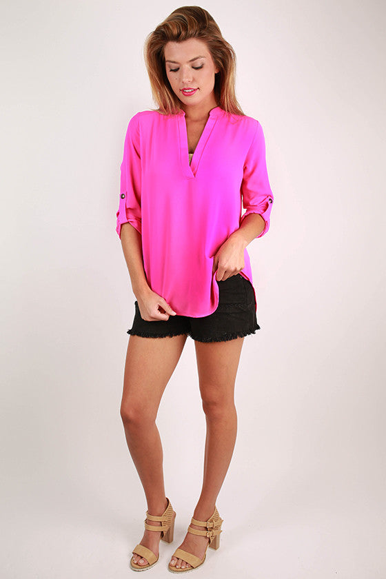 Tropical Perfection V-neck Top in Magenta