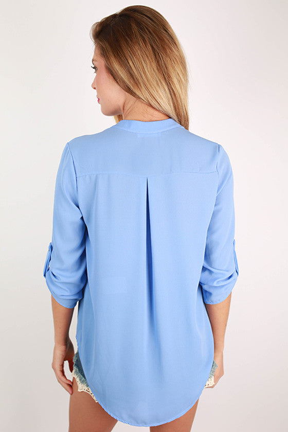 Tropical Perfection V-neck Top in Periwinkle