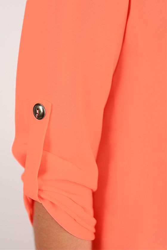 Tropical Perfection V-neck Top in Neon Peach