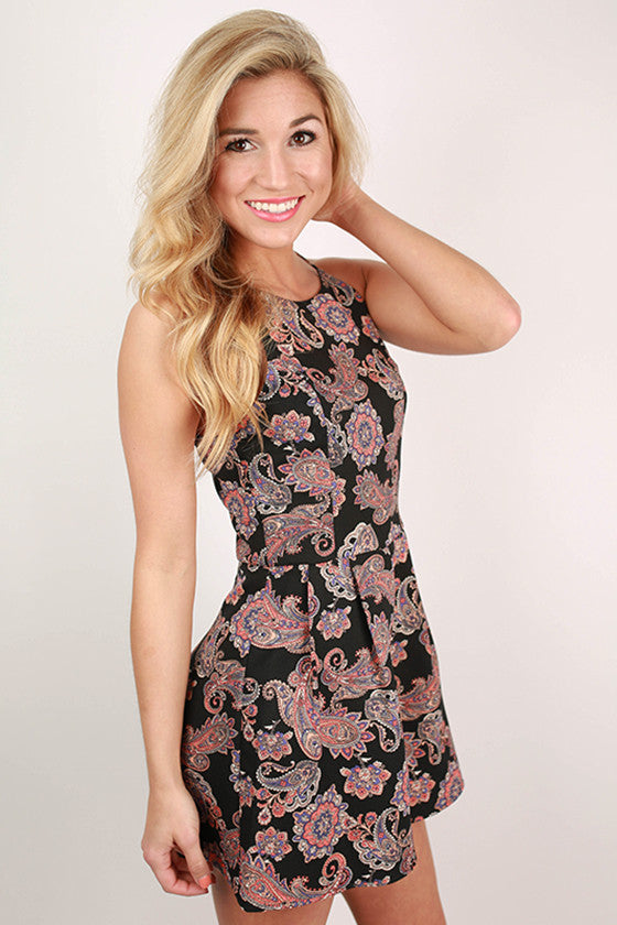 The Night is Young Paisley Romper in Black
