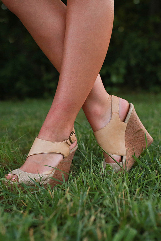 Linen Two Tone Wedge in Tan