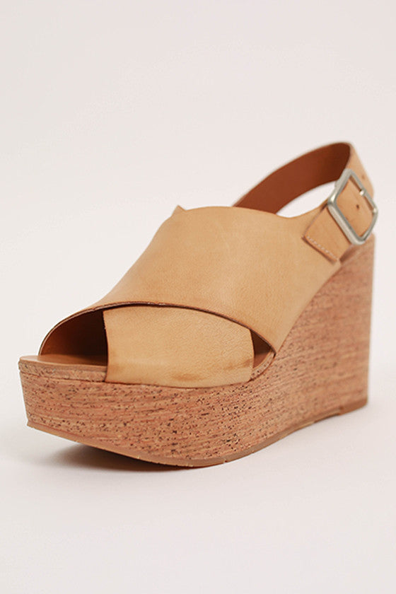 The Perfect Cork Wedge in Tan
