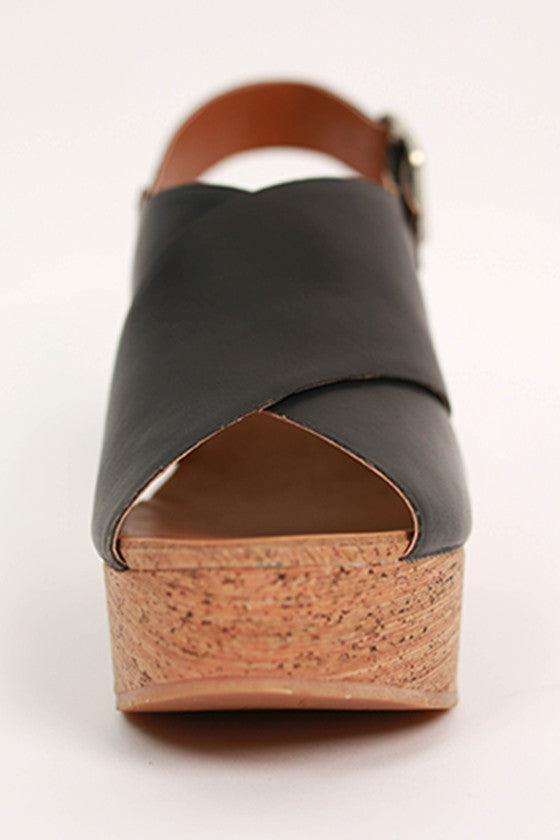 The Perfect Cork Wedge in Black