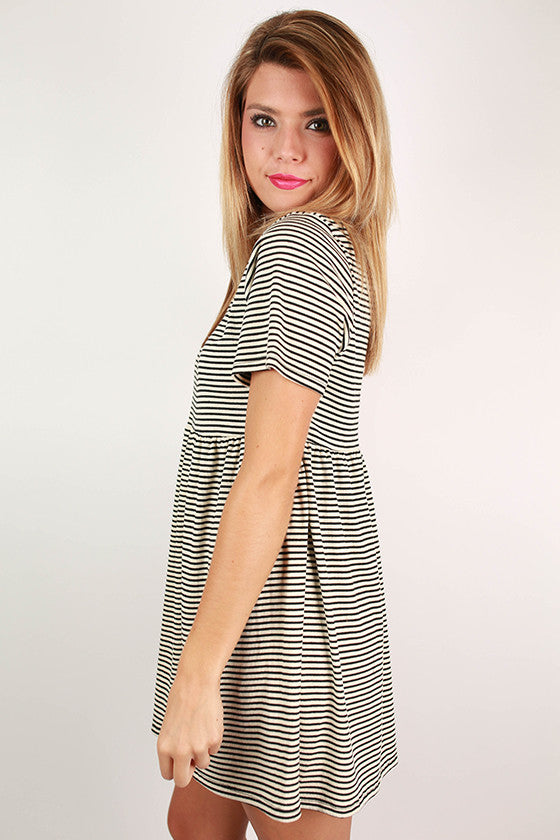 Sass in Stripes Babydoll Dress in Ivory