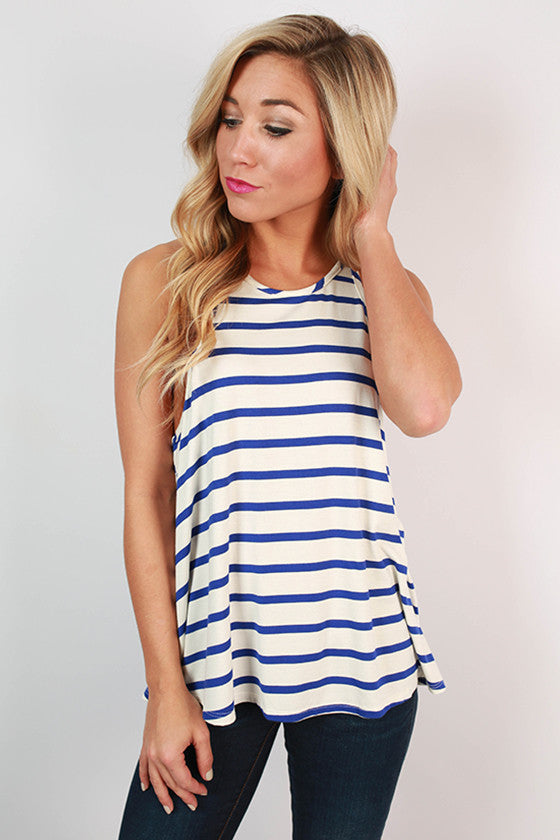 Tank My Word For It Stripe Top in Blue