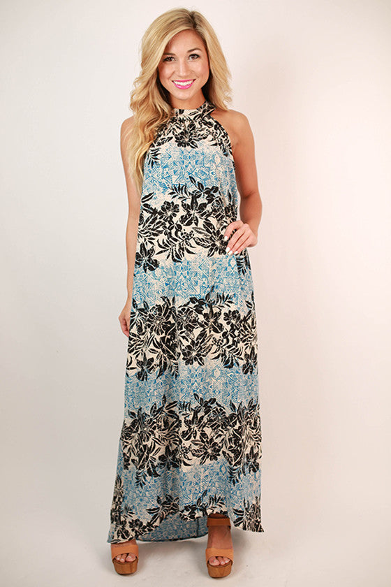 Honolulu Luau Floral Maxi Dress in Blue