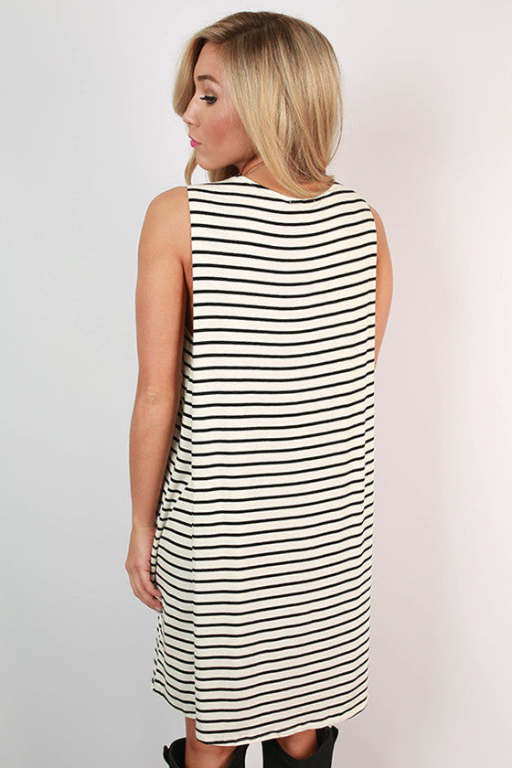 Summer At Cape Cod Stripe Dress in White