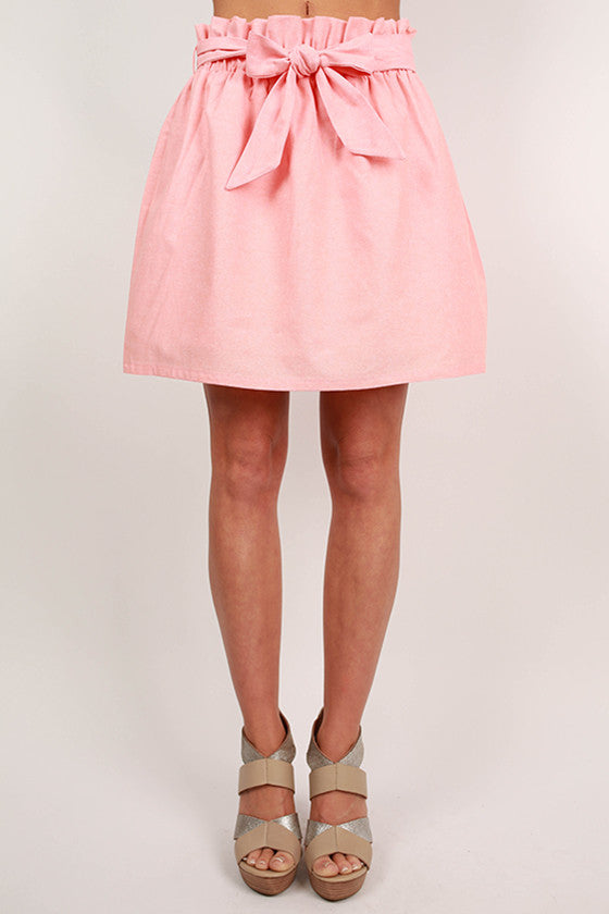Take A Bow Skirt in Peach