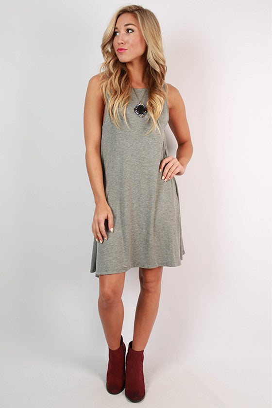 New York Style Shift Dress in Dark Grey