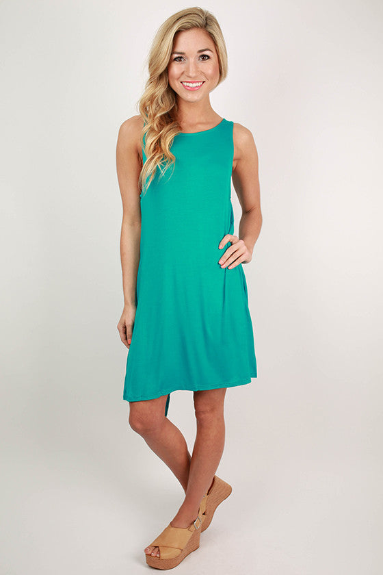 New York Style Shift Dress in Turquoise