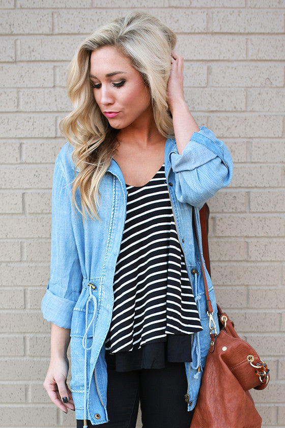 Summer Splash V-neck Stripe Tank in Black