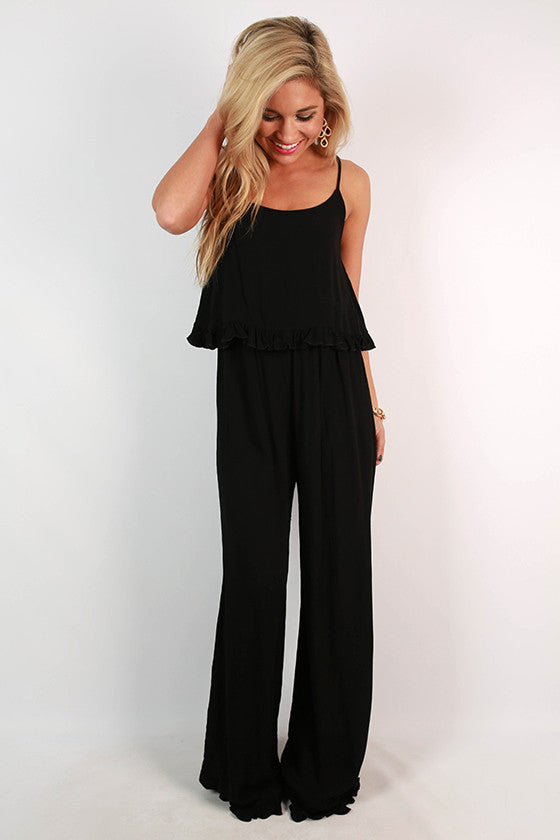Date With The Dance Floor Jumpsuit in Black