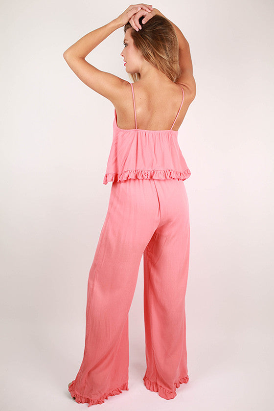 Date With The Dance Floor Jumpsuit in Coral