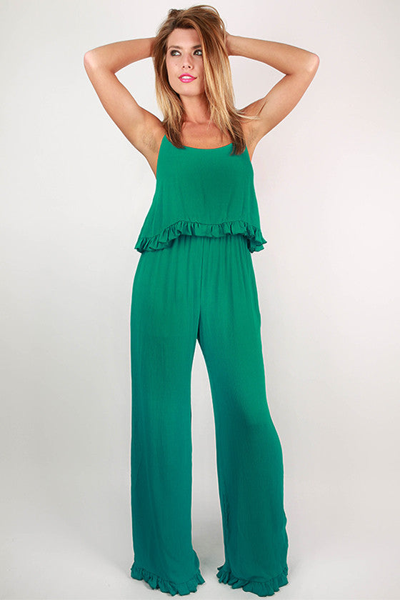 Date With The Dance Floor Jumpsuit in Turquoise