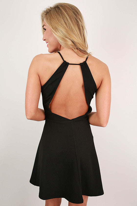 Swing Dance Open Back Dress in Black