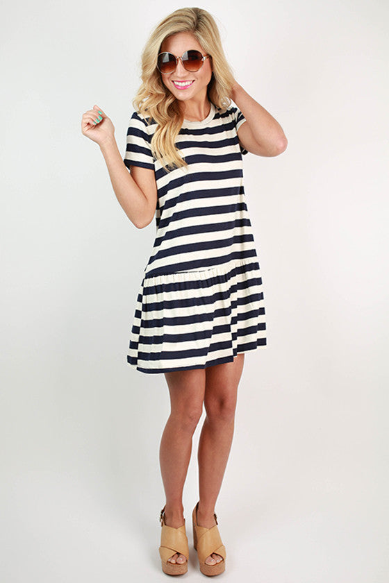 Play On Stripes Flare Dress in Navy