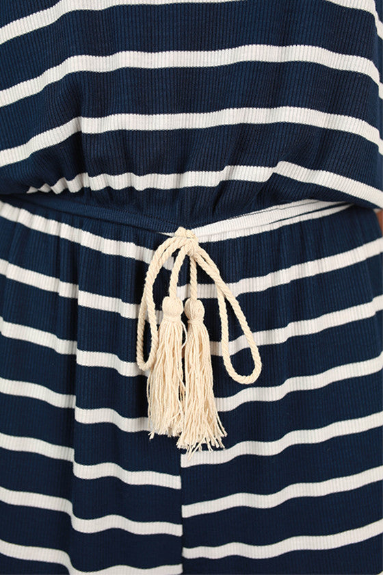Beach & Bliss Stripe Romper in Navy