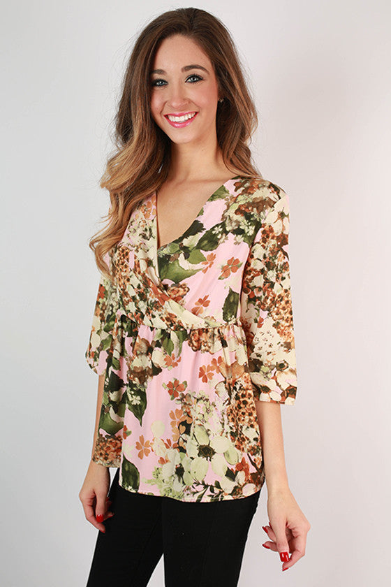 Here Comes The Sun Floral Top in Light Pink