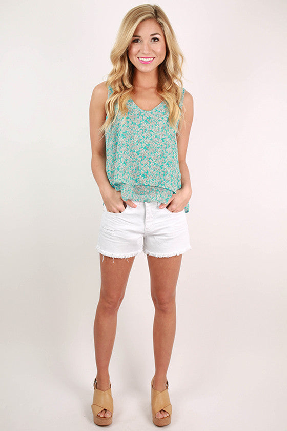 Island Hopping Floral Flutter Tank in Sky Blue