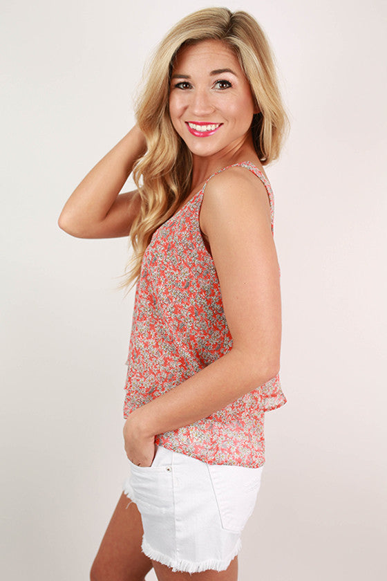 Island Hopping Floral Flutter Tank in Orange
