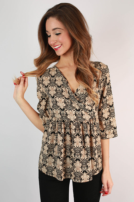 Island Plans Damask Print Top in Black
