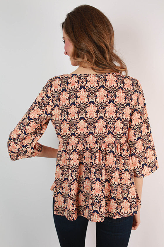 Island Plans Damask Print Top in Navy