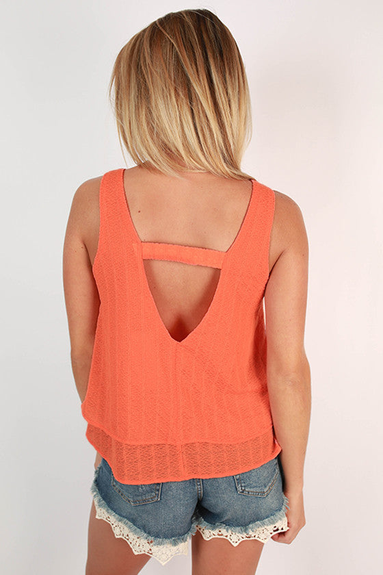 San Diego Sunshine Layered Tank Top in Peach